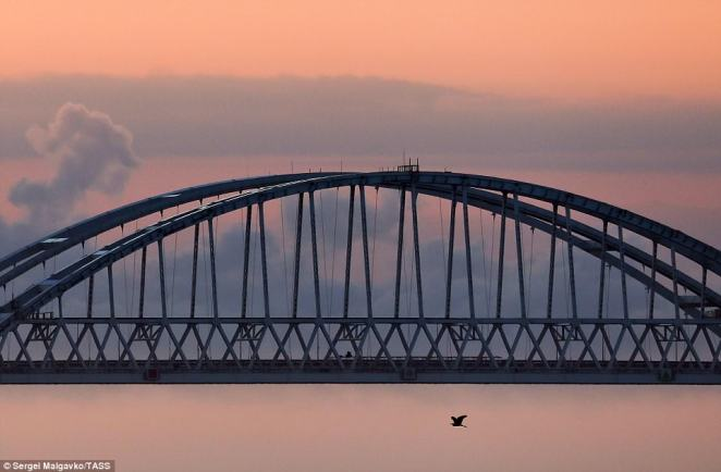 A view of the Kerch Strait Bridge, measuring 19 km (11.8 miles) in length and linking Crimea's Kerch Peninsula to mainland Russia.It was completed six months ahead of schedule in difficult conditions