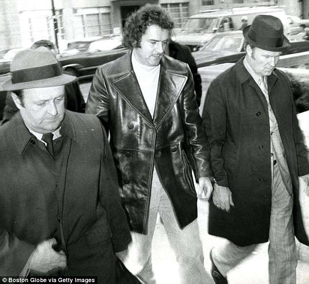 Salemme is pictured in 1972 being arrested in Boston for the murder of Wimpy Bennett
