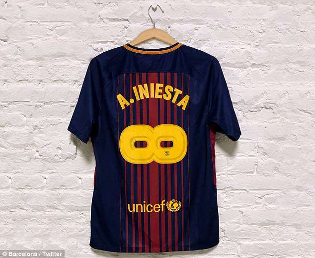 Barcelona revealed the special edition commemorative Andres Iniesta shirt on Twitter