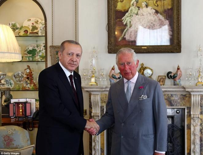 The two men smiled and posed for the cameras as they met for talks at the royal residence today - but Mr Erdogan is facing heavy criticisms from human rights campaigners over his crackdown of political opponents in Turkey