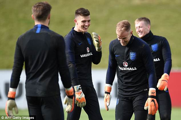 Nick Pope (second left) is the man taking Hart's place as the manager opts for youth and form