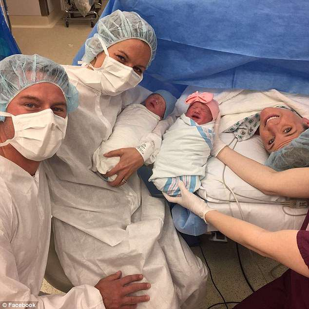 Erica Huston-Elem (far right) performed the incredible and served as a surrogate for her best friend, Katelin Buchanan (second from left), giving birth to twins - a boy and a girl - in March