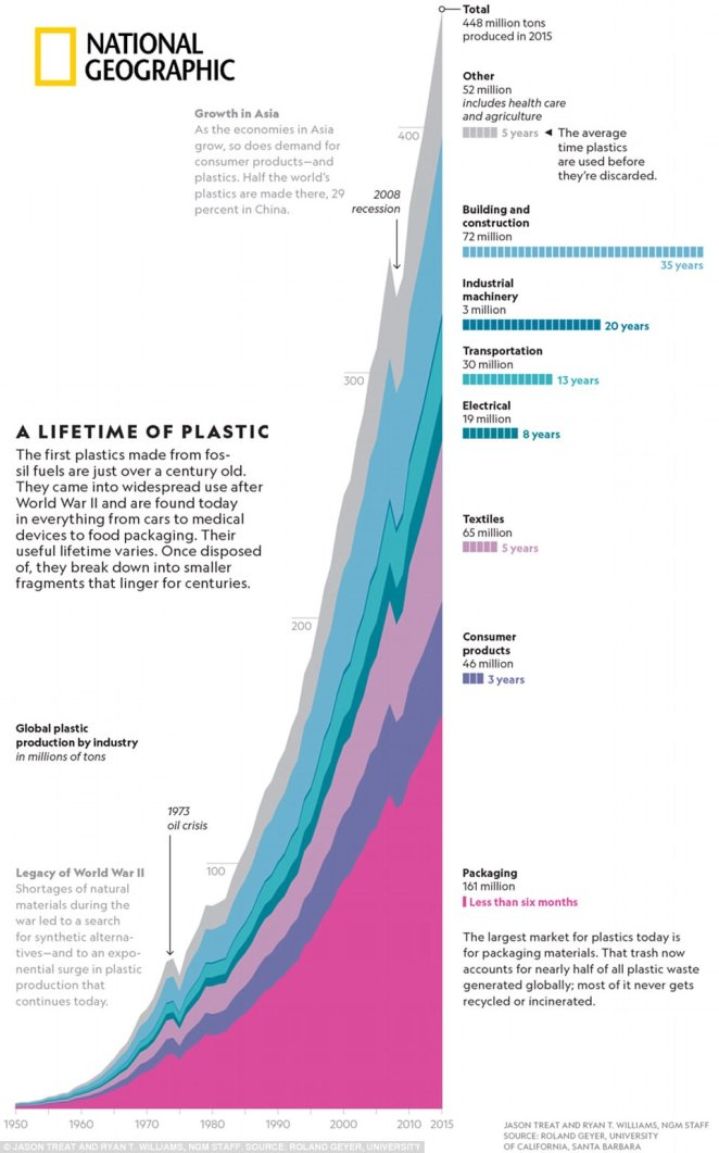 The rise of plastics: This chart shows just how sharply plastic use has risen since 1950, leaving more and more of the material in the world's ecosystems each year