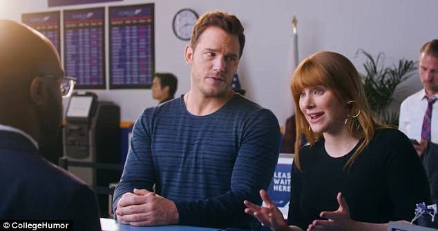 When the attendant tells the couple they can't bring a dinosaur on the plane, Howard tells him that Pratt needs her 'for emotional support'