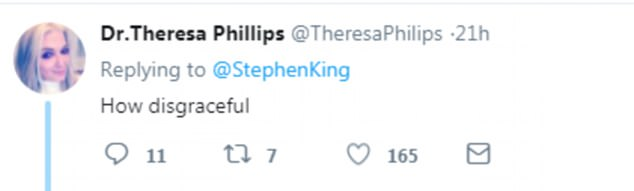 Another Twitter user told Stephen King the tweet was 'disgraceful'