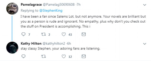 Many people said they were no longer fans of Stephen King, who has not yet addressed the backlash