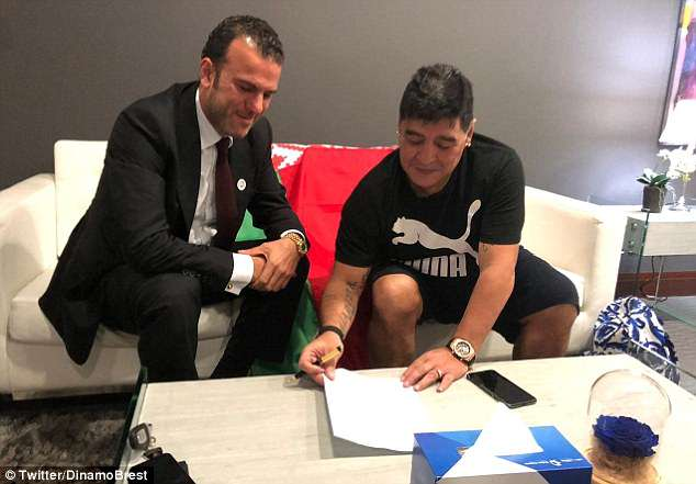 Diego Maradona signs his deal with Belarusian club Dinamo Brest after agreeing terms