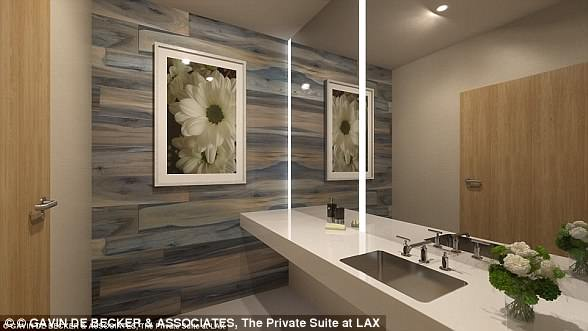 Each of the 13 individual suites also comes with its own bathroom. Pictured: A bathroom in The Private Suite