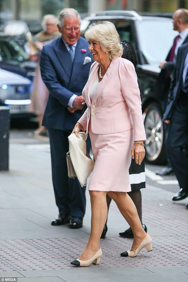 The Duchess of Cornwall looked cheerful today as she arrived at the YouTube space in London's King's Cross to learn more aboutGoogle Arts & Culture projects