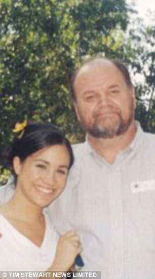 Meghan is pictured with her retired father Thomas Markle, 73, in her younger years