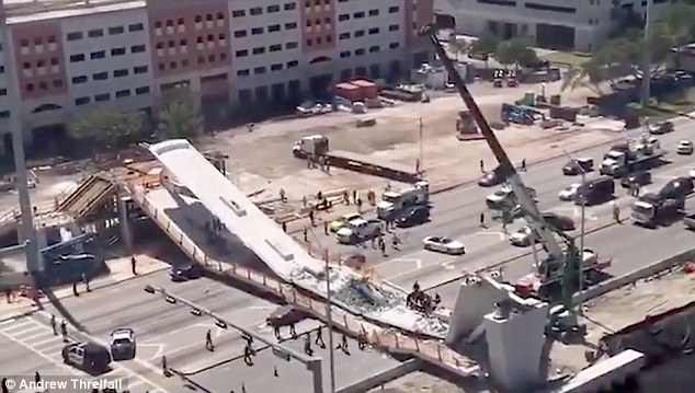 The massive machine was driven for 30 blocks and parked back at George's Crane lot shortly after the 'instant bridge' collapsed