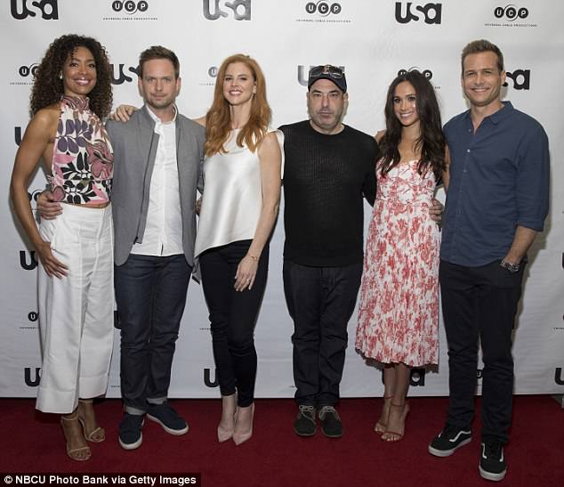 Squad: She also appeared on the show alongside (L-R)Gina Torres, Patrick J. Adams and Sarah Rafferty. Their attendance at the wedding has yet to be confirmed