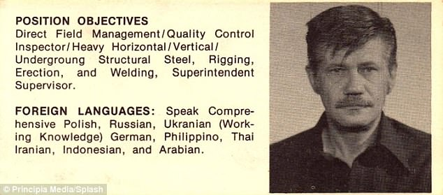 Reca workedas a covert government agency and was particularly valuable for his language skills. He's pictured above on a resume prepared by a U.S. Consulate in Saudi Arabia in the late 1980s