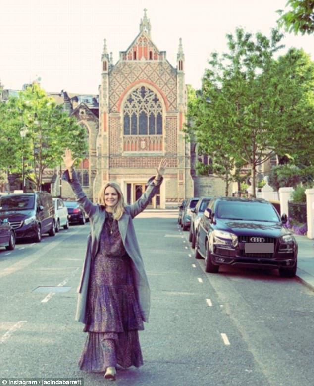 Across the pond: Australian actress Jacinda, who has two children with her husband, has been sharing a stream of snaps from her adventures in the UK