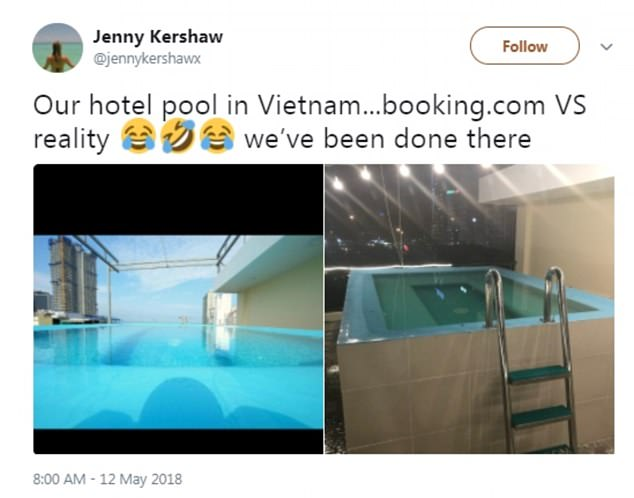 Whoops! Jenny Kershaw from Manchester, England, took to Twitter over the weekend to share the misleading image of a hotel 'pool' featured on Booking.com alongside her own picture