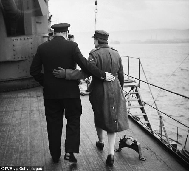 The clergyman was taken aback when the Prime Minister and a host of dignitaries boarded the vessel for a hastily-arranged voyage to the US in December 1941. Above, Churchill on the HMS Duke of York during the trip