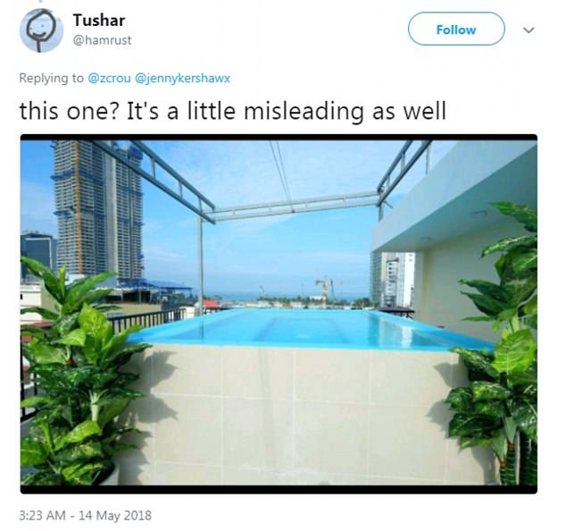 Not quite right: Someone else pointed out that the second photo of the 'pool' is almost as misleading