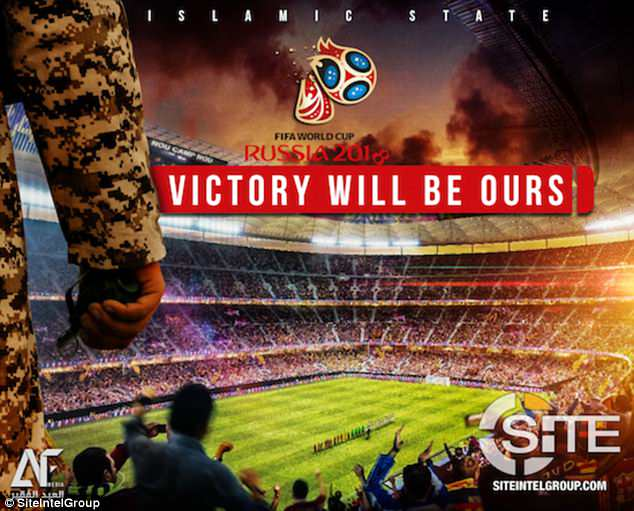 A second poster shows a militant carrying what appears to be an explosive device in to a stadium. It comes with the message: 'Fifa World Cup Russia 2018 - victory will be ours'
