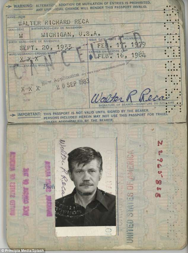 While DB Cooper was never found, Reca was alive and well long after the hijacking. One of his expired passports from the 1980s is pictured above
