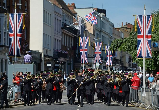 Members of the armed forces during a parade rehearsal in Windsor as preparations take place for the royal wedding on Saturday. Bets are on over whether or not Prince Harry's wedding to Meghan Markle will beat the 26million viewers who tuned in to watch Prince William's wedding