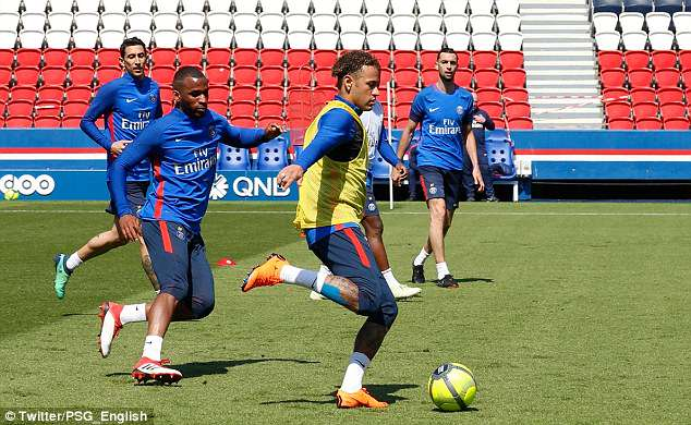 PSG shared a photo of Neymar back in full training for the club at Parc des Princes on Thursday