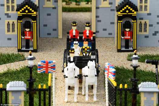 Marriage bliss: Legoland Windsor advertised its new exhibit with a series of photos showing the Lego wedding. It took 11 model maker to create the exhibit