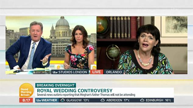 Fiery confrontation: Samantha Markle went head-to-head with DailyMail.com's Piers Morgan on Good Morning Britain after her father was revealed to have co-operated with paparazzi - who she now claims caused her boyfriend to crash his car, leaving her injured