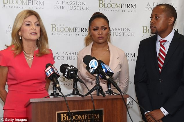 In a news conference on Thursday, Teairra (center) accused her ex, Akbar Abdul-Ahad, of posting a sex tape of them on her Instagram page. Teairra is pictured above with her lawyers Lisa Bloom and Walter Mosley