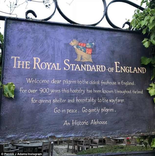 Stopping by: The acclaimed TV star first teased fans of his arrival as he posted a photo of The Royal Standard of England in Buckinghamshire which was captioned: 'I have historically ale'd'