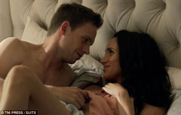 On-screen husband: His character Mike Ross recently said 'I do' to her character Rachel Zane on hit US legal drama Suits