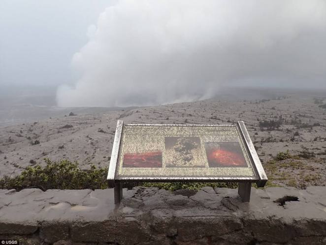 Dramatic moment Hawaii's Kilauea volcano erupts from its summit and shoots an ash plume 30,000 feet into the sky and showering homes where people are warned to 'shelter in place' At 7:45am
