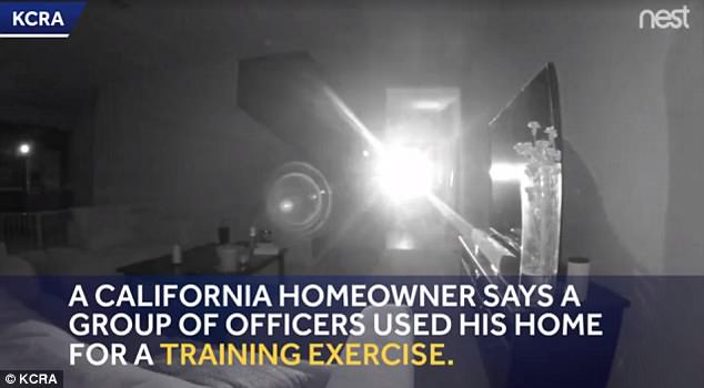 A California man said he checked his surveillance video and saw Sacramento police officers conducting a supposed training exercise inside his home
