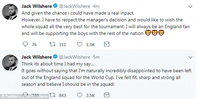 Wilshere tweeted to express his disappointment but wished England the best in Russia