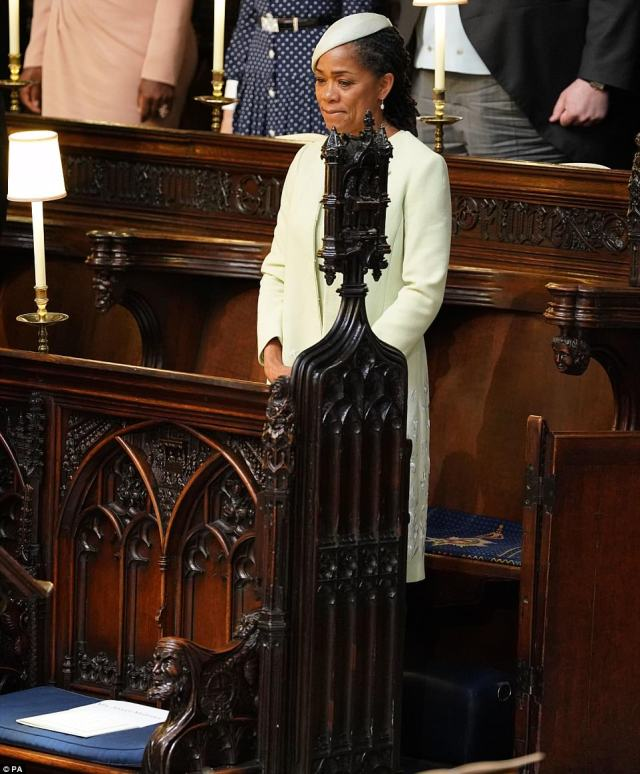 Doria sat alone for the ceremony as other members of Meghan's family were not in attendance