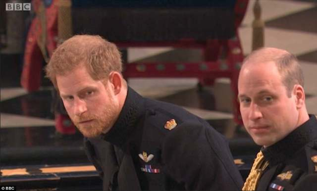 Concerned Prince Harry, sitting with William, leans forward in an attempt to catch Doria's eye