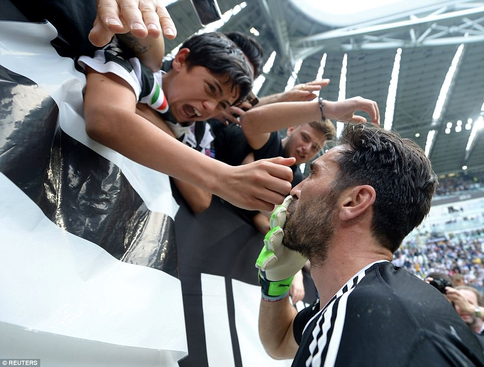 One child fan was seen in floods of tears as he met his hero, who has played for Juventus since 2001