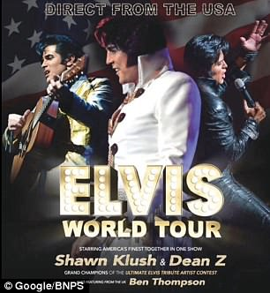 Poster advertising Elvis impersonator Shawn Klush's world tour