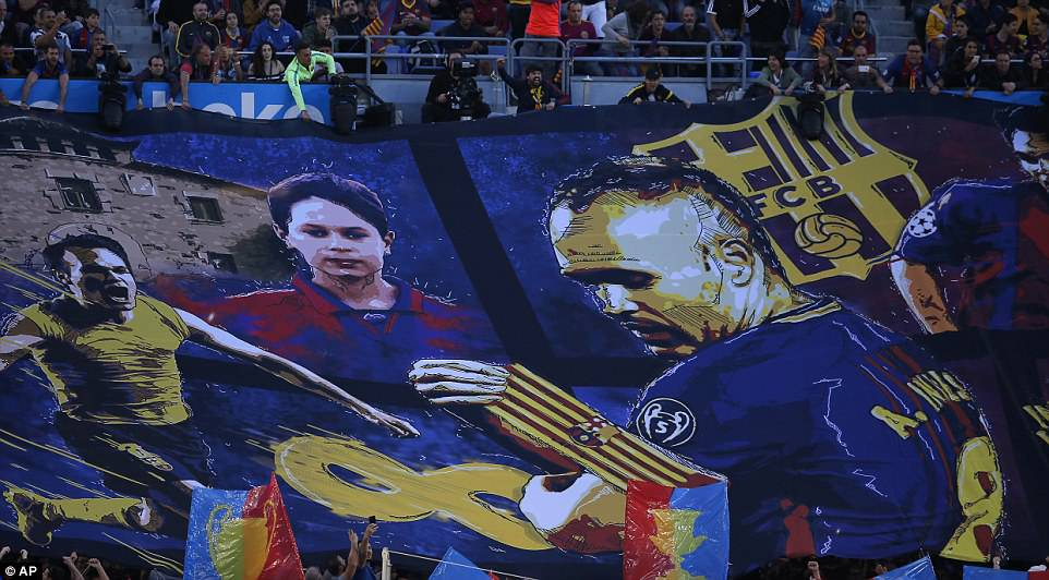 The Barca fans held up a banner displaying pictures of the Spanish midfielder throughout his footballing career