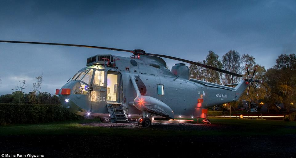 At Mains Farm Wigwams in Stirling, Scotland, there is a Sea King helicopter that visitors can sleep in