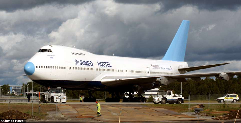 The Jumbo Stay hostel, set at the entrance to Stockholm Arlanda Airport, is housed inside a decommissioned jumbo jet model 747-212B from 1976