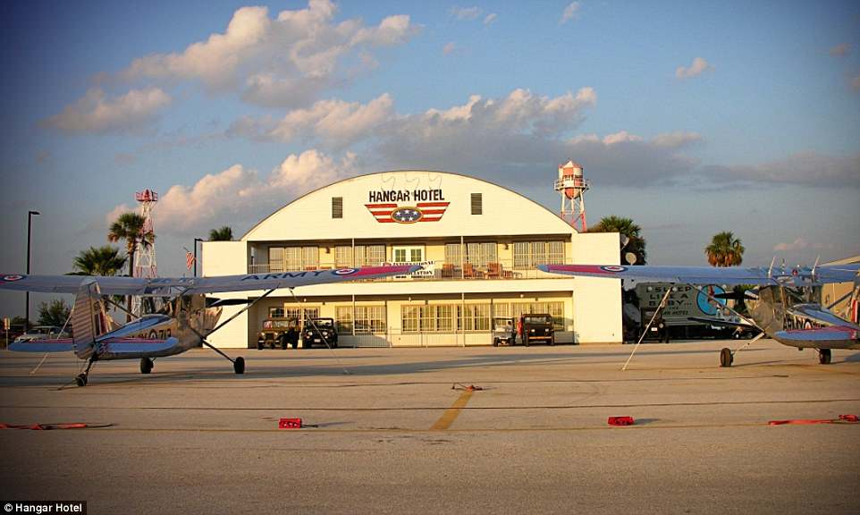 The Hangar Hotel in Texas has a historically accurate WWII hangar appearance