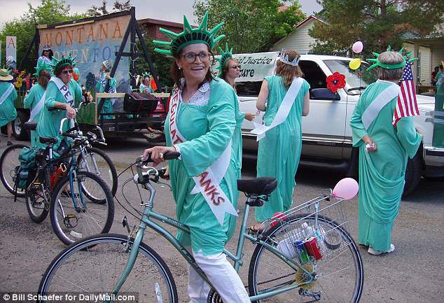 Her friend shared a photo of Kidder with the Montana Women for Peace dressed as Liberty Belles for the Livingston Fourth of July parade