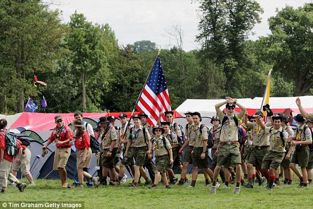 Condoms will be made 'readily and easily accessible' at the upcoming World Scout Jamboree (pictured are the Scouts from America at the 2007 Jamboree in England)