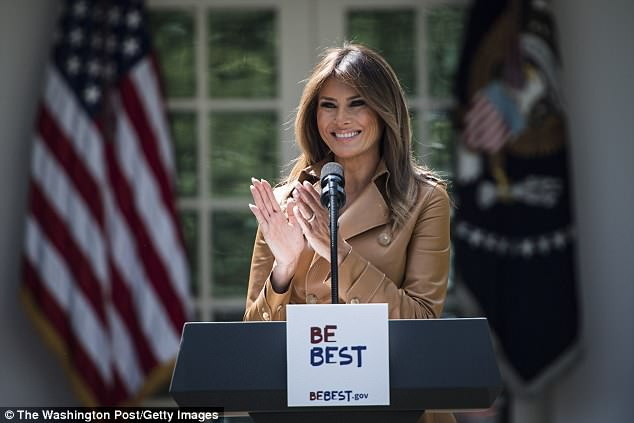 President Trump recently misspelled his wife Melania's (pictured) name in a tweet - calling her 'Melanie'