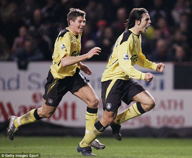Morientes pictured celebrating the first of the 12 goals he scored as a Liverpool player