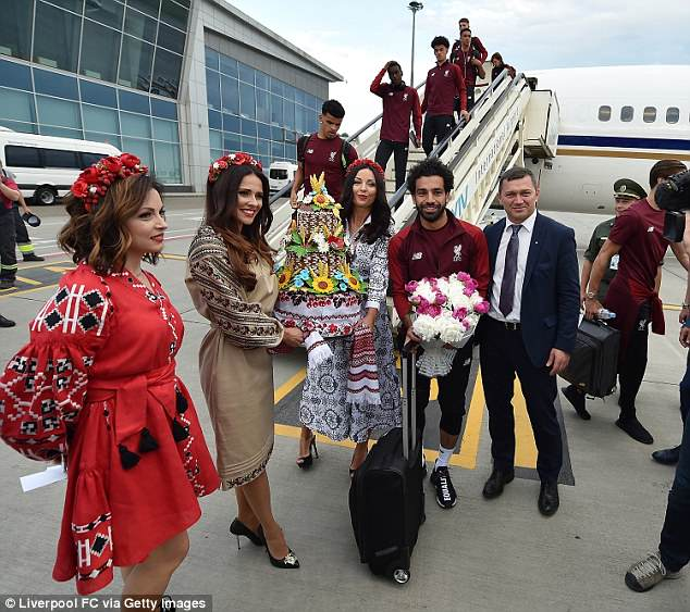 Star man Salah also posed for pictures on the runway at Mizhnarodnyy Aeroport