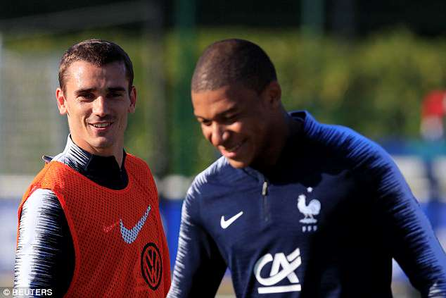 Antoine Griezmann appeared in a relaxed mood despite speculation over his future at Atletico