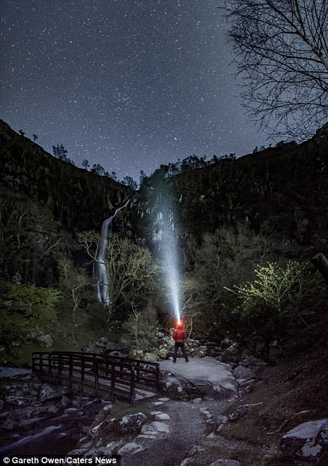 The photographer pictured in Aber Falls