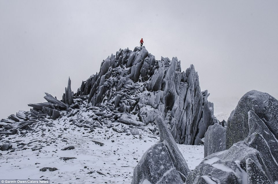 After clambering to the top of theGlyder Fach peak in Snowdonia, Mr Owen captured a selfie at the summit