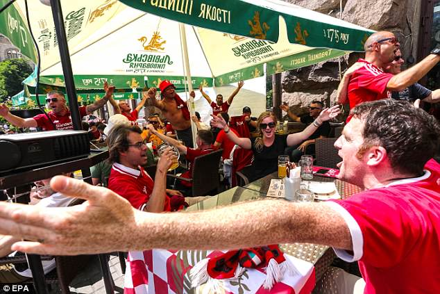 Liverpool supporters have started to gather in local pubs in Kiev for the day